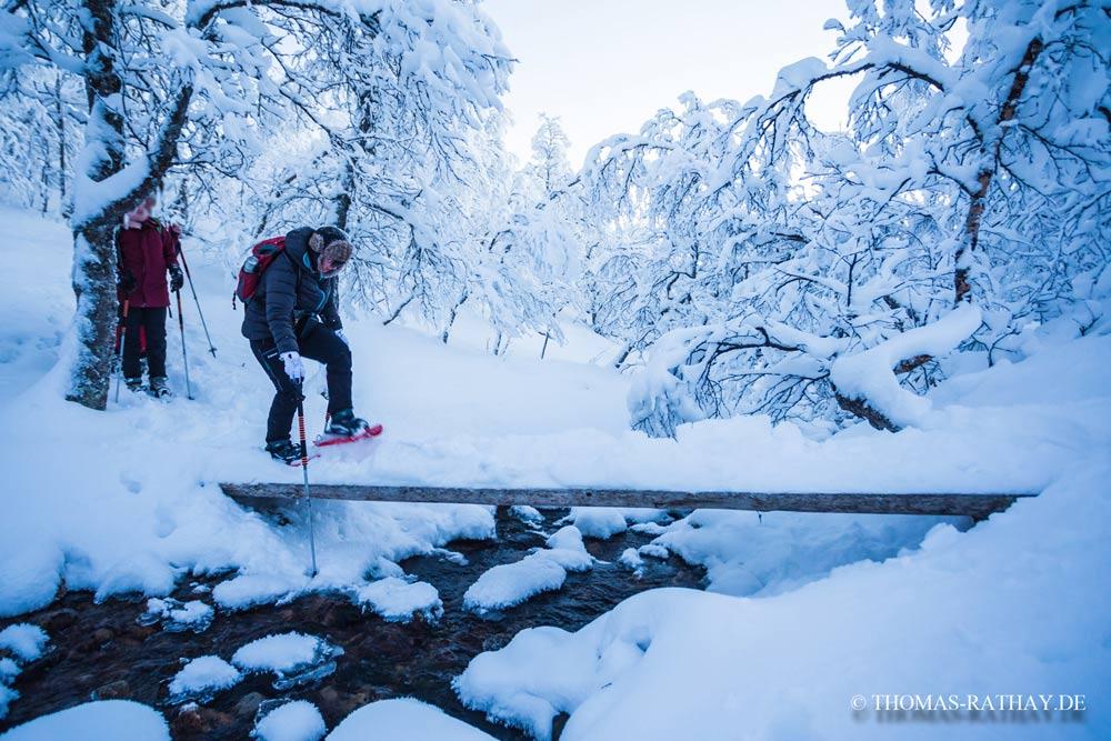 Mit Schneeschuhen über Bach und Baumstamm balancieren